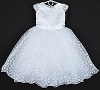 """Платье нарядное детское """"Горошек"""" с рукавчиком 4-5 лет. Белый принт. Купить оптом и в розницу, фото 1"""