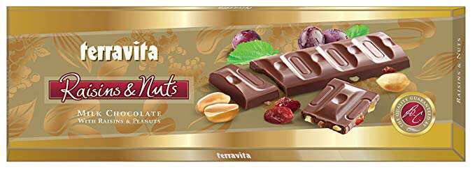 Молочный шоколад Terravita Raisins & Nuts, 225 г