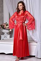 Шикарный атласный халат с длинным кружевным рукавом Красный. Размеры от XS до XL