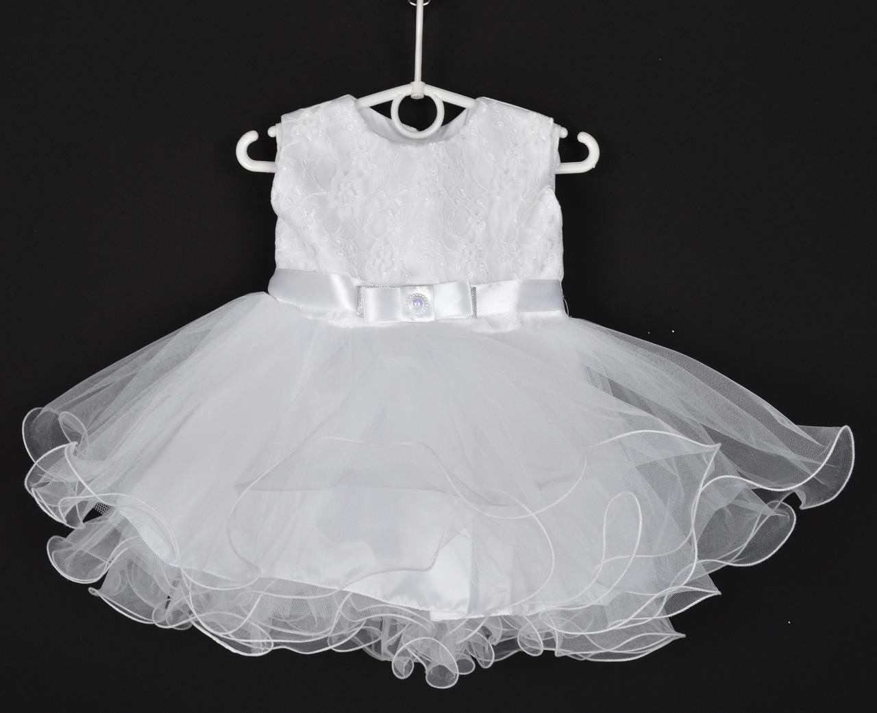 """Платье нарядное детское """"Лавандочка"""" без оборки до 1 года. Белое. Купить оптом и в розницу"""