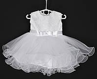 """Платье нарядное детское """"Лавандочка"""" без оборки до 1 года. Белое. Купить оптом и в розницу, фото 1"""