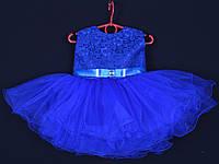 """Платье нарядное детское """"Лавандочка"""" без оборки до 1 года. Электрик. Купить оптом и в розницу, фото 1"""