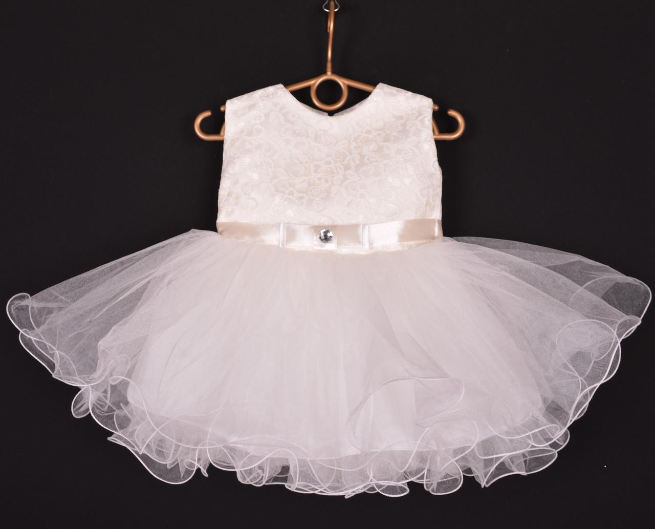 """Платье нарядное детское """"Лавандочка"""" без оборки до 1 года. Молочное. Купить оптом и в розницу"""