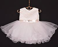 """Платье нарядное детское """"Лавандочка"""" без оборки до 1 года. Молочное. Купить оптом и в розницу, фото 1"""
