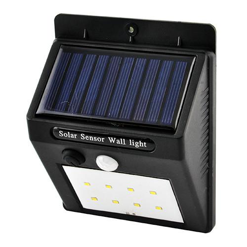 Настенный уличный светильник 6008-8SMD, 1x18650, PIR+CDS, солн. батарея