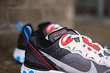 Мужские кроссовки Nike React Element 87 Dark Grey Photo Blue AQ1090-003, Найк Реакт Елемент, фото 2