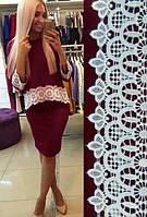 Женский вечерний костюм из креп-дайвинга с кружевом. Размеры норма 42, 44, 46, 48. Разные цвета.