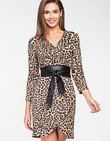 Женское леопардовое платье с имитацией запаха(5117 ie)