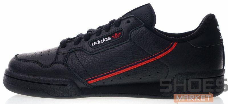 Мужские кроссовки Adidas Continental 80 Core Black / Scarlet / Collegiate Navy G27707, Адидас Континентал