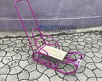 Санки Польські з ручкою штовхачем, фіолетові