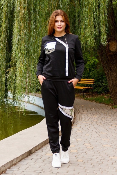 Женский спортивный костюм с декором в расцветках, р-р 50-60. ИК-4-1018