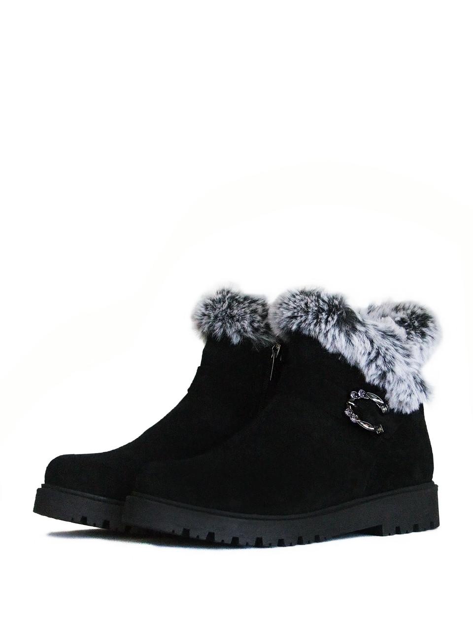 Ботинки зимние замшевые с опушкой