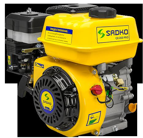 Двигатель бензиновый Садко GE-200PRO  (6,5 л.с., ручной стартер, шпонка Ø19мм, L=58мм) + доставка