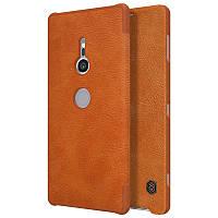 Кожаный чехол (книжка) Nillkin Qin Series для Sony Xperia XZ2 Коричневый