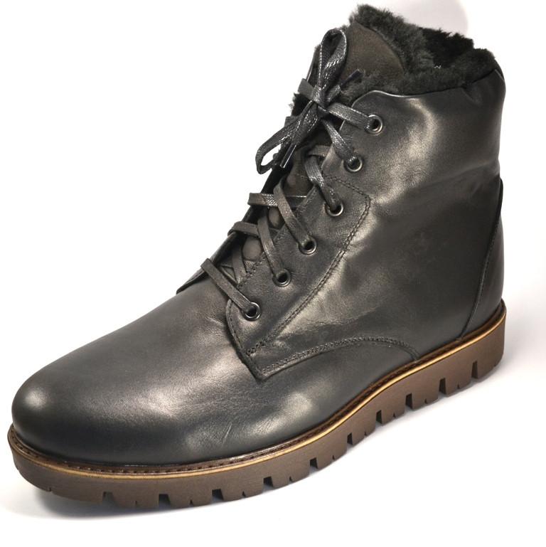 Зимние ботинки на натуральном меху мужская обувь Rosso Avangard Night Whisper Airon Black черные