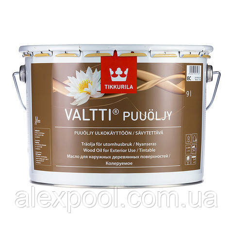 Масло для защиты древесины от влаги, грязи и растрескивания VALTTI EC 9 л