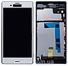 Дисплей (екран) для Sony D6633 Xperia Z3 Dual Sim + тачскрін, білий, з передньою панеллю