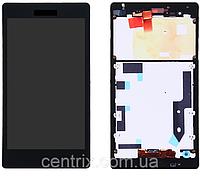 Дисплей (экран) для Sony D5322 Xperia T2 Ultra DS + тачскрин, черный, с передней панелью