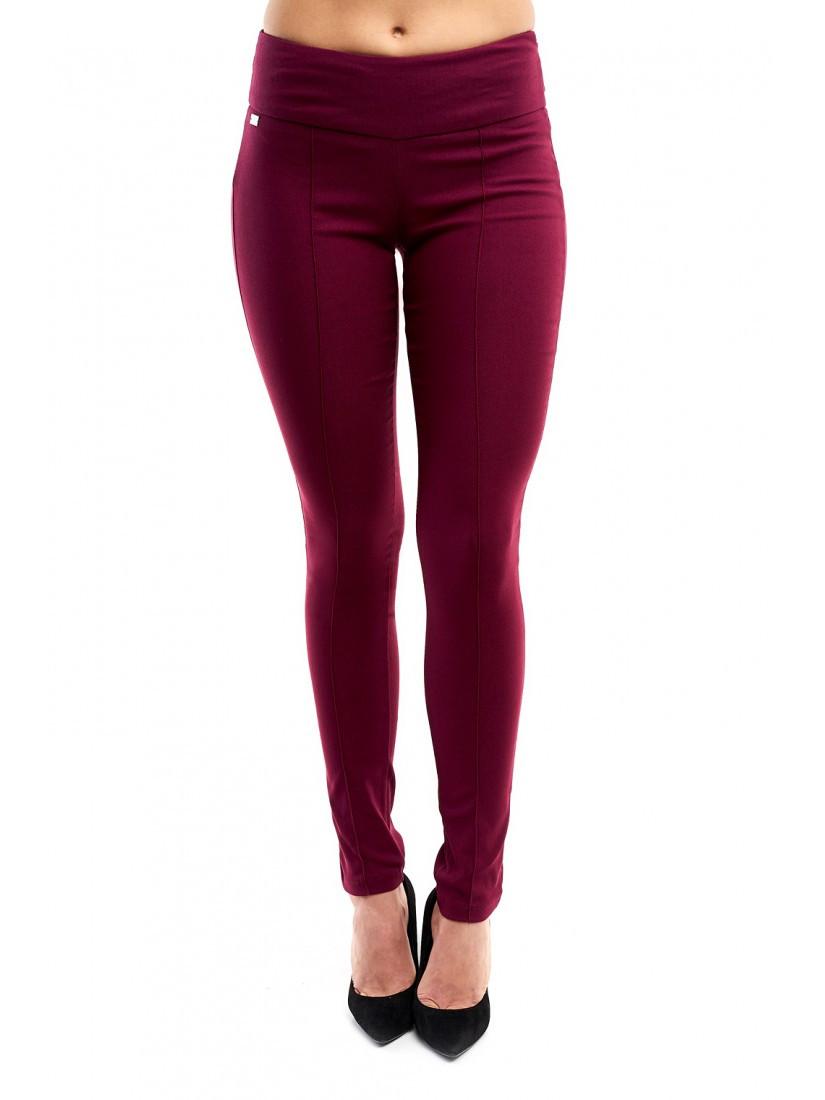 Стильные джинсовые облегающие брюки цвета марсала  42-48