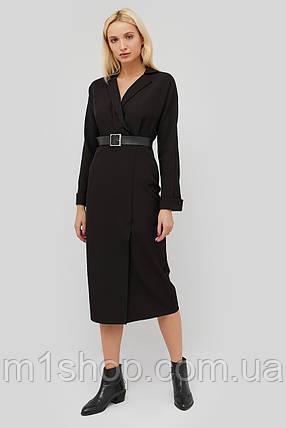 Женское черное платье с отложным воротником и поясом (Edden crd), фото 2