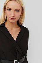Женское черное платье с отложным воротником и поясом (Edden crd), фото 3