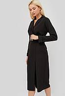 Женское черное платье с отложным воротником и поясом (Edden crd)