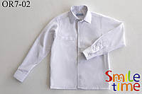 Рубашка белая детская р.92,98,104,110,116,122 на кнопках с длинным рукавом SmileTime