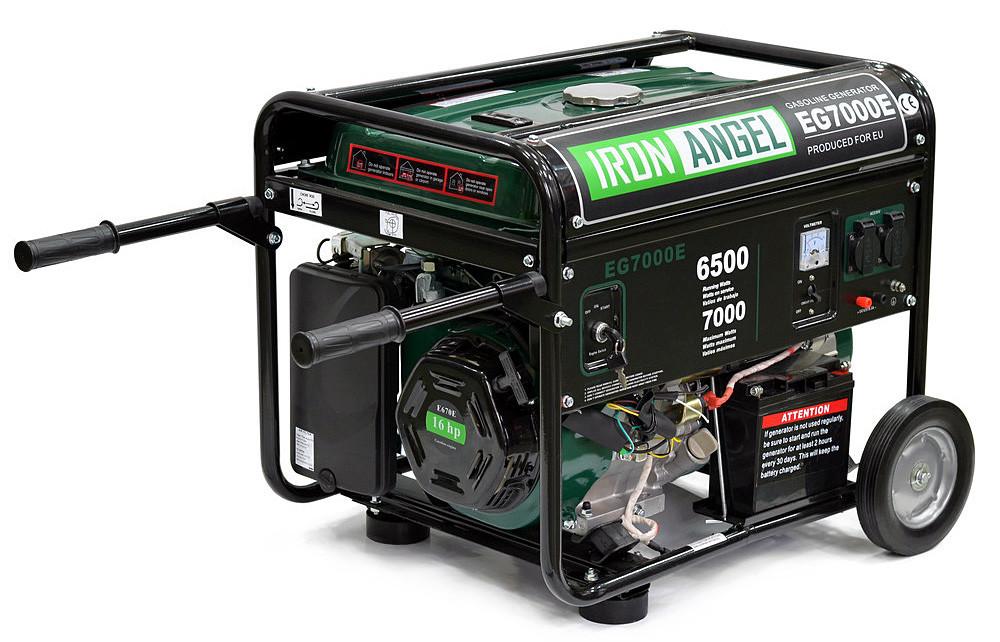 Генератор бензиновый IRON ANGEL  EG7000E  (6.5 кВт, электростартер) Бесплатная доставка