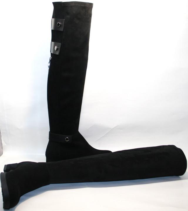 """Интернет магазин """"Гранд"""" предлагает:  демисезонные замшевые ботфорты на низком каблуке."""