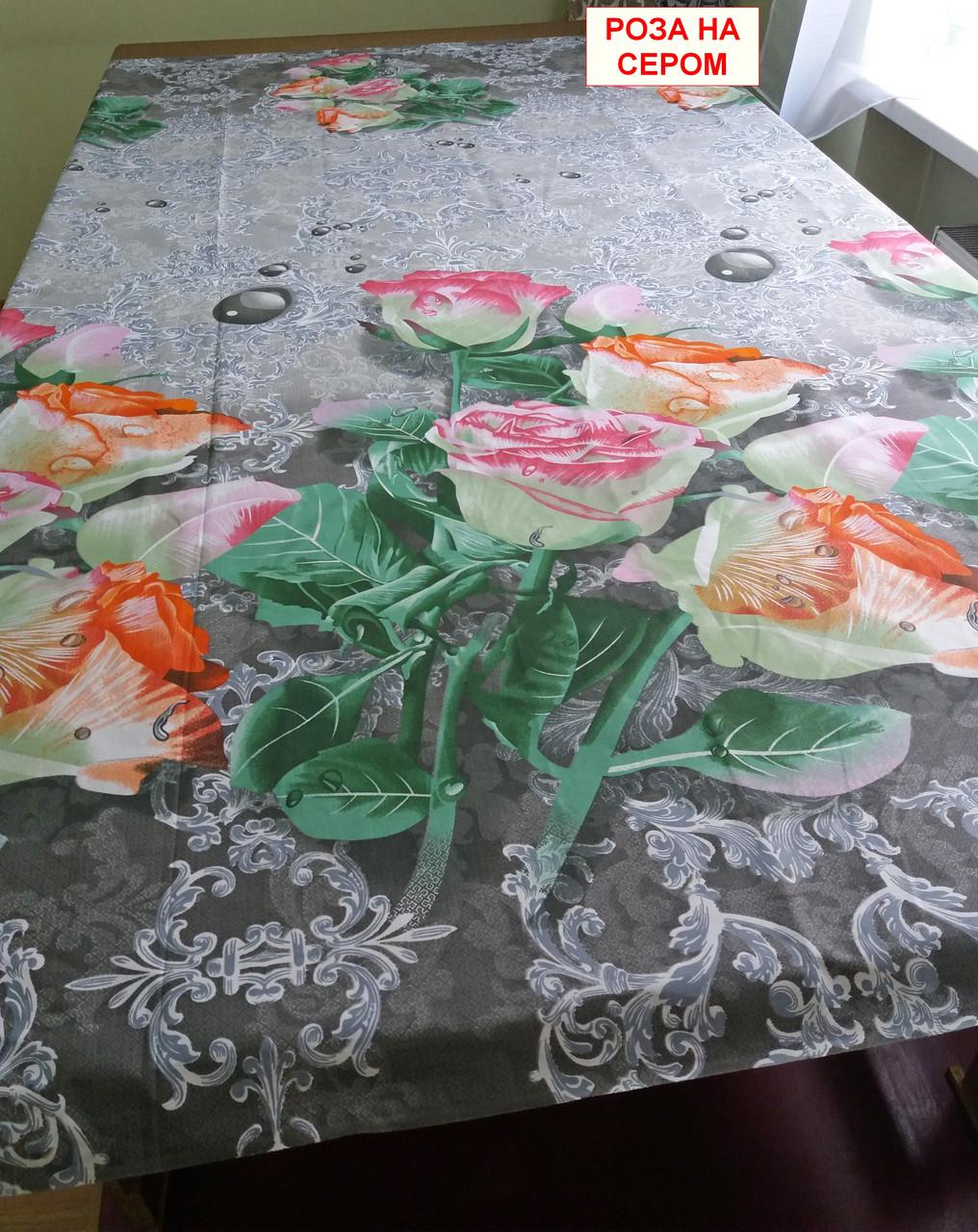 Двуспальная бязевая простынь - Роза на сером