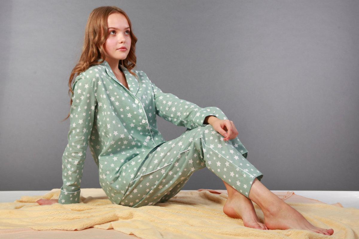Піжама жіноча, м'ятна в білі зірочки. Домашній одяг. Women's Pajamas. Пижама женская. Домашняя одежда M/L