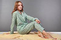 Піжама жіноча, м'ятна в білі зірочки. Домашній одяг. Women's Pajamas. Пижама женская. Домашняя одежда, фото 1