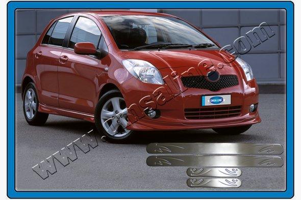 Накладки на пороги OmsaLine (4 шт, нерж) - Toyota Yaris 2012+ гг.
