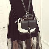 Городской женский рюкзак черный с молочным
