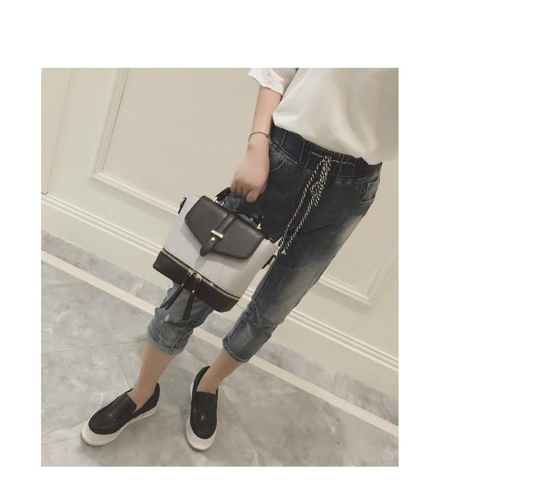 Городской женский рюкзак черный с серым