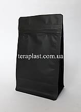 Пакет с плоским дном 250г черный 120х80х200 с зип-замком