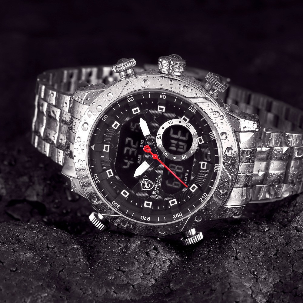 Мужские часы SHARK SH590 Men's LED Anolog Dual Stainless Steel