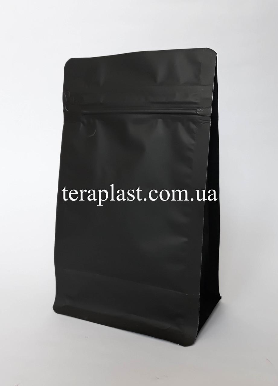 Пакет с плоским дном 1кг черный 145х90х340 с зип-замком