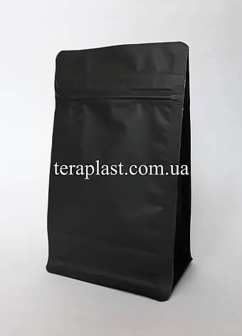 Пакет с плоским дном 1кг черный 145х90х340 с зип-замком, фото 2
