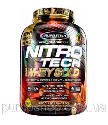 Ізолят сироваткового протеїну MuscleTech Nitro-Tech Whey Gold 2500 м (+пептиди), фото 2
