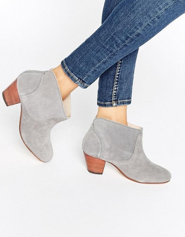 Ботинки женские замшевые серые hudson для asos демисезонные