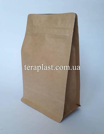 Пакет с плоским дном 500г крафт+металл 130х90х255 с зип-замком, фото 2