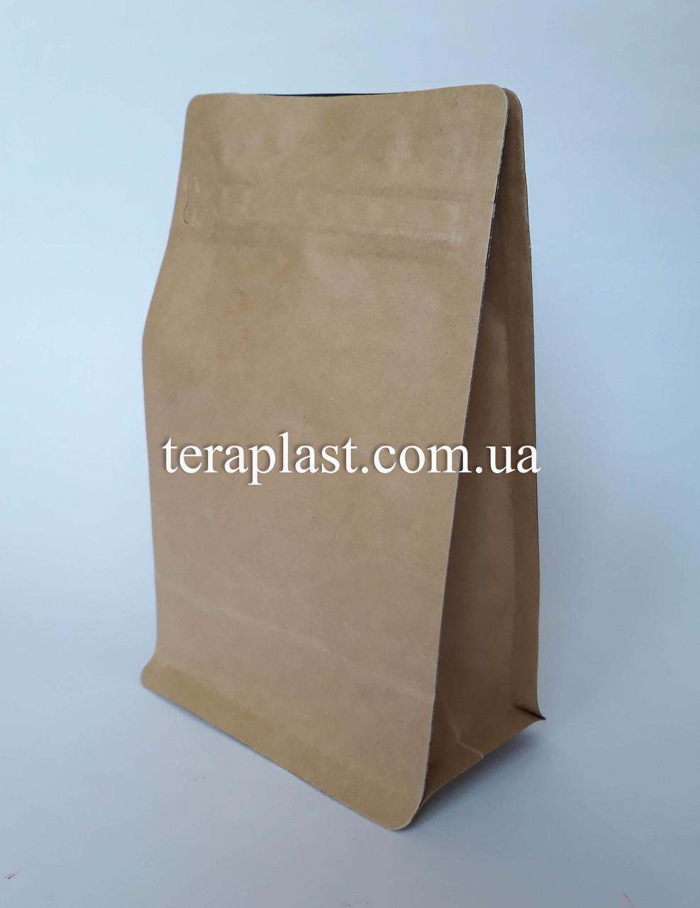 Пакет с плоским дном 1кг крафт+металл 145х90х340 с зип-замком