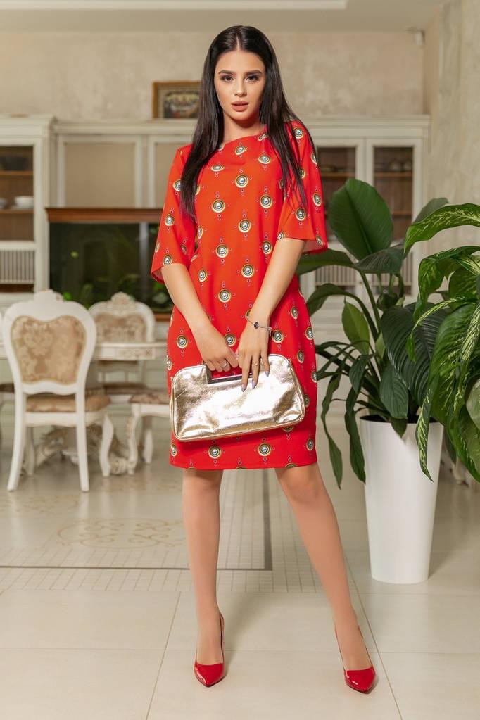 Платье приталенного кроя с принтом / 3 расцветки арт 7296-544