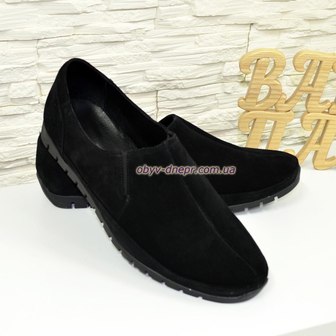 Туфли-мокасины замшевые мужские, цвет черный.