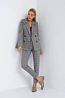 Женский брючный костюм  с пиджаком серого цвета. Размеры  S M L , фото 1