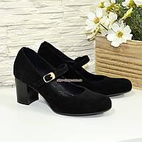 Туфли замшевые женские на устойчивом каблуке, фото 1