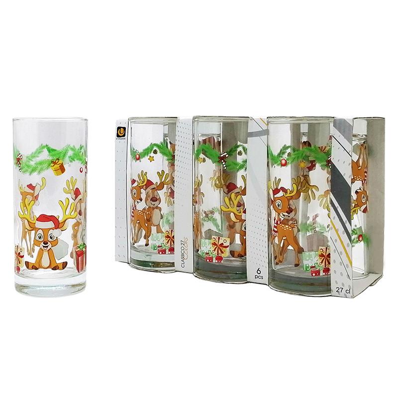 Набор стаканов Uniglass Classico Merry Christmas Deers 270 мл 6 шт. высокие