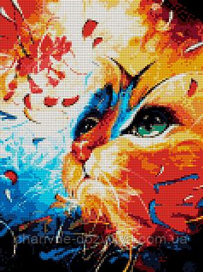 """Набор алмазной вышивки (мозаики) """"Котик с цветком"""", фото 2"""