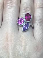 Кольцо серебро 925 пробы с натуральными камнями